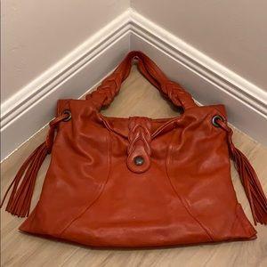 Cayenne red lamb skin leather shoulder bag